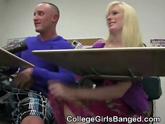 College Blonde Sucks Dick And Fucked In Classroom