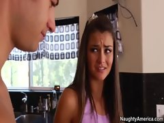 Small tit brunette Allie Haze fucks friend&#039_s big cocked brother in kitchen