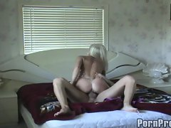 Blistering Sue Diamond rides this dick up her wet slit