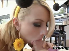 Sexy Lexi Belle takes a mouthful of meaty hard cock with a smile