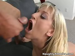 Say cum and open wide.  Babe Eve Lawrence gets blasted all over her pretty face