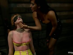 Naughty Marie McCray gets her tits whipped by Isis Love