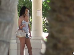 Sexy Kodi Gamble gets stalked on her walk to the park