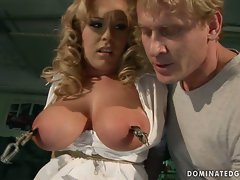 Tit tourture and toy fucking of attractive blonde sex slave