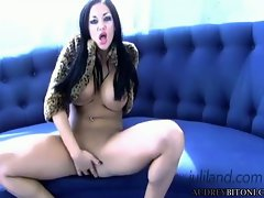 Sexy Audrey Bitoni finger fucks her moist pussy hole