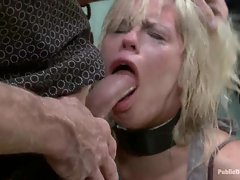 Filthy whore Tara Lynn wants to fill her mouth with as much man meat as she can