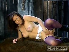 Kira Reed fingering her cunt in the dungeon