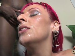 Raven Black shower with cum from black dudes