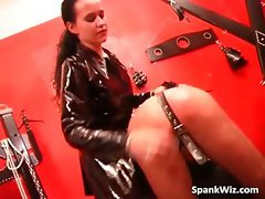Sexy brunette drips wax and spanks tied part1