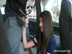 Teen girl talked into a good fuck in bus