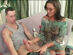 Lusty cougar sucks dick and licks butt
