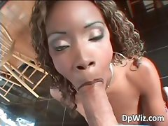 Sexy ebony babe gets DP by two white part1