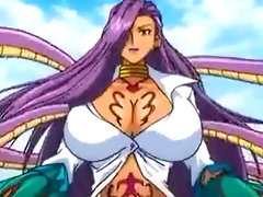 Busty hentai gets caught and fucked by snake monster