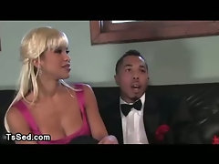 Black guy gets deep throat and asshole fucked from busty blonde tranny