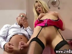 Hot blonde gets nailed by old guy from behind and stuff