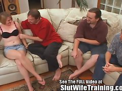 Sally is Slut Wife Trained to Share All 3 Holes