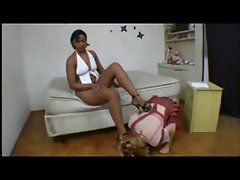 Lezdom - Giant Ebony and litle blonde