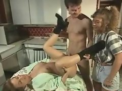 German MILF fucks on kitchen table