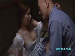 Busty Japanese girl gets fingered and licked by a bald guy
