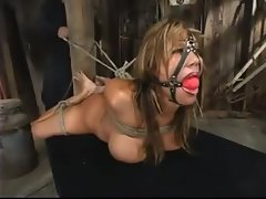Busty bitch tied up and used by her master