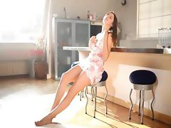 chick wow beauty teasing in a kitchen