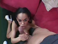 Brunette Tyra Banxxx gives this guy a nice handjob and licks nuts