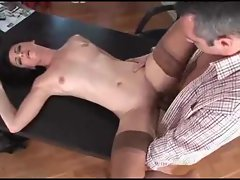 Euro beauty plowed on desk by big cock