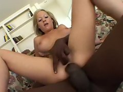 Butt fucking a slut with a black cock