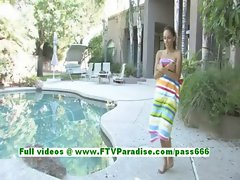 Valerie amazing brunette teenage fingering her pussy by the pool
