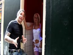Horny amsterdam blonde hooker in stockings
