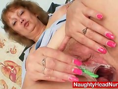 Fat old nurse gets naughty in gyn clinic