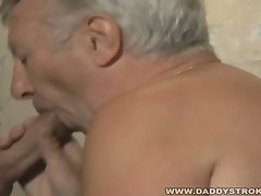 Gloryhole suck action for this horny old gay guy