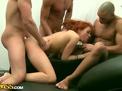 Redhead cleaner fucked by three horny clients