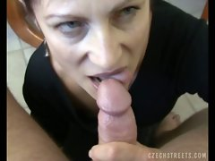 Czech milf whore coached to suck dick