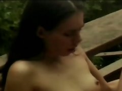 Horny brunette babe fucked hard in outdoor