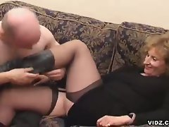 This old, wrinkled blonde slut is not picky, she eats up a cock with...