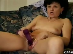 She's alone and horny, this old naughty granny is caught by this...