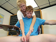 Sexy milf Hot Wife Tracy is a hot teacher and gives a tug job to a...