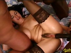Eva gets banged hard by three big fat black cocks...