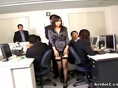 Lovely Japanese office babe gets her tight Asian pussy abused by...