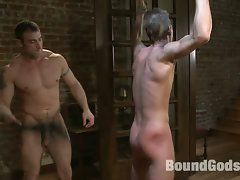 Spencer Reed showers the tied up Jake Woods with loads hot cum!...