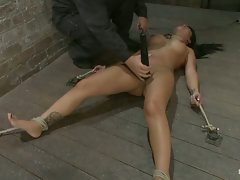 Cute Hawaiian girl with huge nipples get them tied up and pulled...