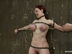 Hot 19 year old Iona Grace chained to the wall, her amazing natural...