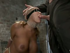 Hot MILF with huge tits, bound and made to suck cock!  Elbows...