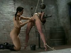 Ariel X gets abused by Matt Williams and Isis Love in a live BDSM...