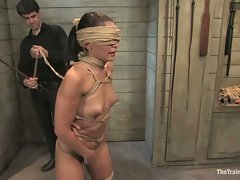 Gorgeous slave girl trained to serve sadistic Masters...