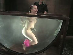 German hottie gets bound, sprayed with water and dunked...