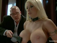 Beautiful blonde Candy Manson with perfect massive tits gets trained