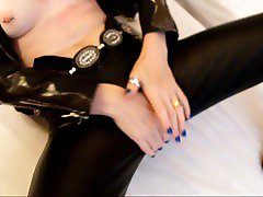 PVC boots, pants piercing tease with milf.