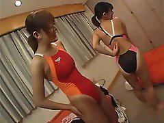 oriental women in swimsuits suntan version